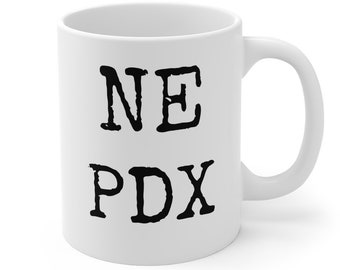 SE PDX coffee, tea and soup mug. Classic 11oz size and shape. For left-handed peeps.