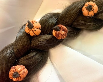 Pumpkin Orange Pale Yellow Flower Cluster Gift Set of Five 5 Floral Bobby Pins Peach Rose Floral Hair Pin Cabochon Accessories