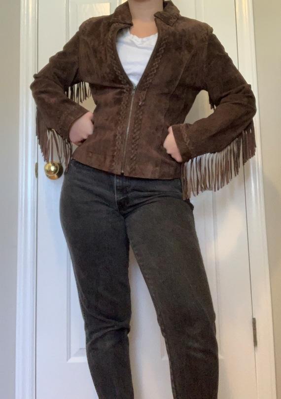 Vintage Suede Leather Fringe Jacket, Size M - image 4