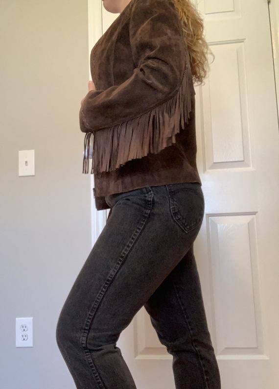 Vintage Suede Leather Fringe Jacket, Size M - image 5