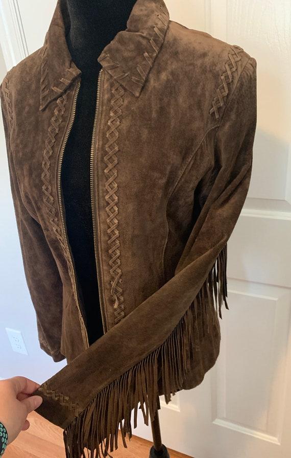 Vintage Suede Leather Fringe Jacket, Size M - image 8