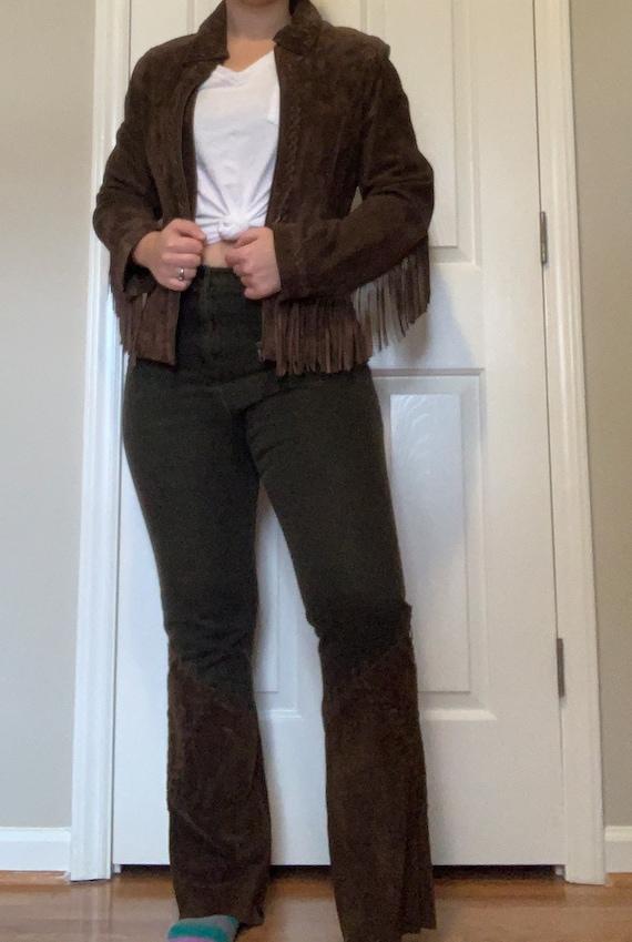 Vintage Suede Leather Fringe Jacket, Size M - image 1
