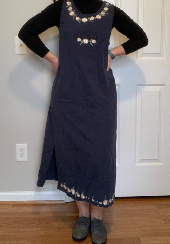 1990s Blue Sleeveless Maxi Jumper Dress Grid Hippie Pastel Geometric Art Embroidered Women/'s ML