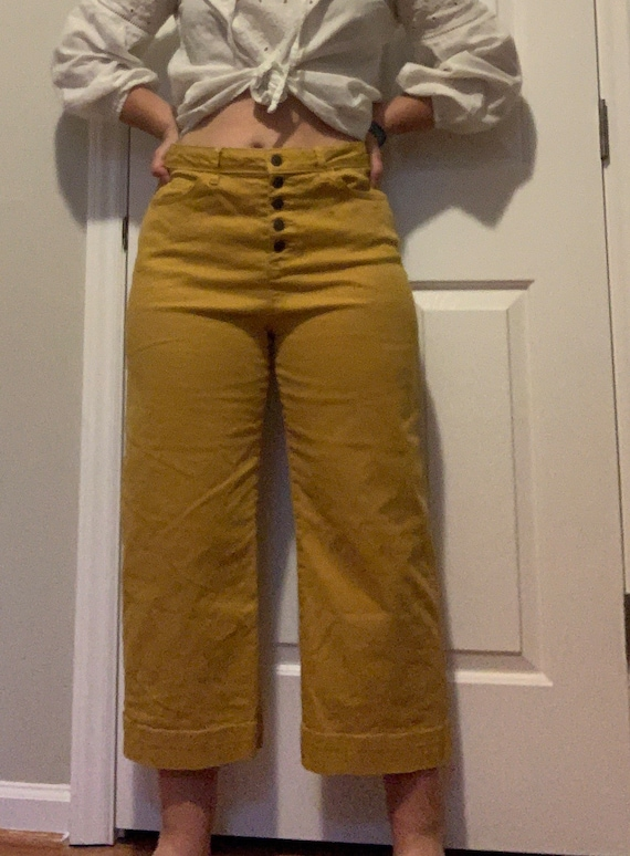Vintage 70s Mustard Yellow High Waisted Capri Wide