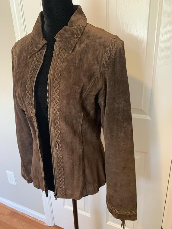 Vintage Suede Leather Fringe Jacket, Size M - image 6