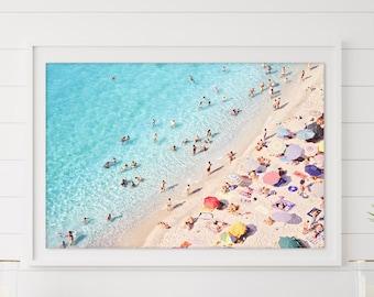 Beach Photography Wall Art Print, Digital Download, Aerial Photo, Large Printable Ocean, Beach Wall Art, Coastal Decor, People on the Beach