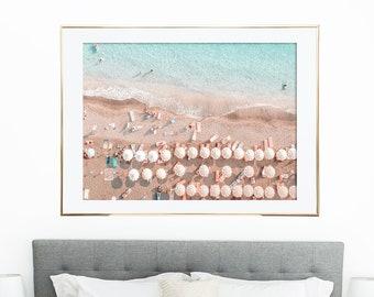 Umbrellas Aerial Beach Print, Beach Photography, Aerial Beach Poster, Digital Download, Beach Wall Art, Coastal Wall Art, Summer Wall Art