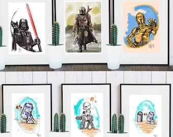 Print A4 - Star Wars Inspired Fanart - Various Motifs
