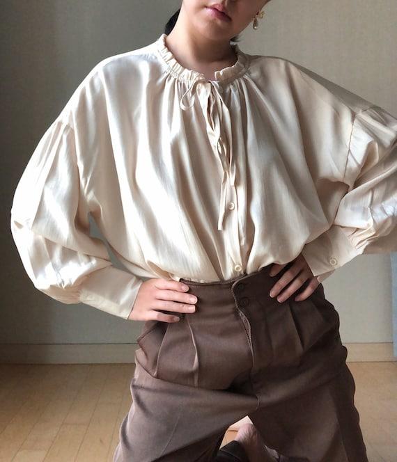 Vintage 70's Cream Peasant Ruffle Collar Blouse, C