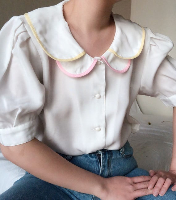Sold/ Vintage 60s Japanese Pink Yellow Piping Doub