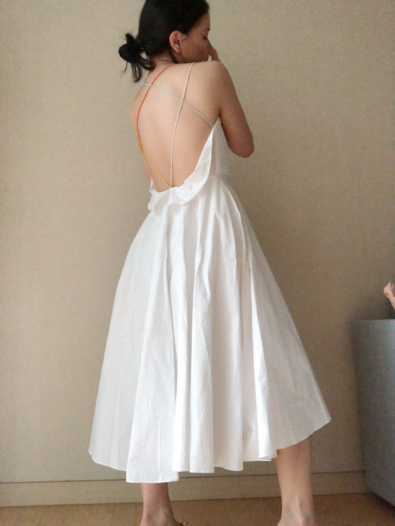 Vintage Colorful Strappy Backless White Dress, Whi