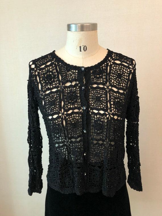 Vintage 70's Black Floral Crochet Hand Knit Cardig