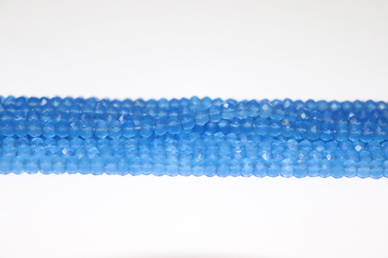 Blue Chalcydony Faceted Rondelle Beads    Chalcydony  Beads   Chalcydony  Rondelle Beads   Chalcy Beads Strand