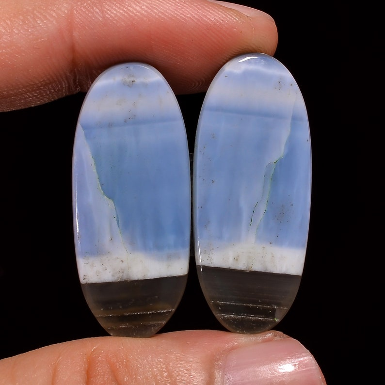 23X14X4 mm AK-352 Owyhee Blue Opal Oval Shape Cabochon Pair Awasome Quality Loose Gemstone Pair For Making Earrings 29.5 Ct