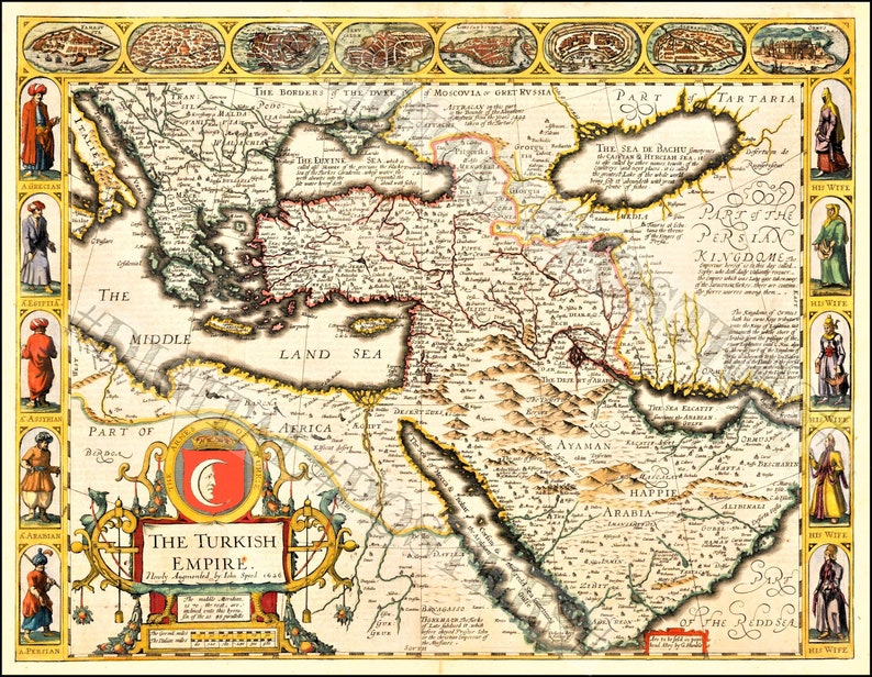 Poster Detailed Map Middle East Southern Europe Turkish image 0