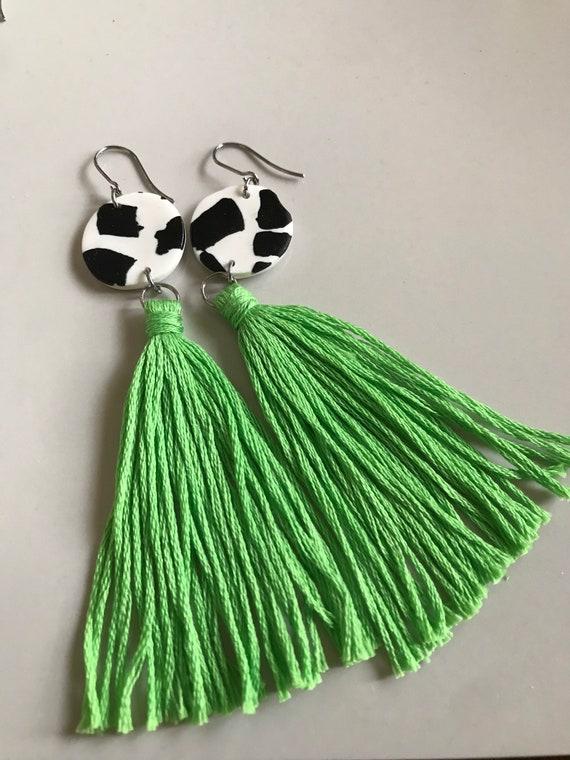 white tassel earring pink boho style earring Green polymer clay statement earrings