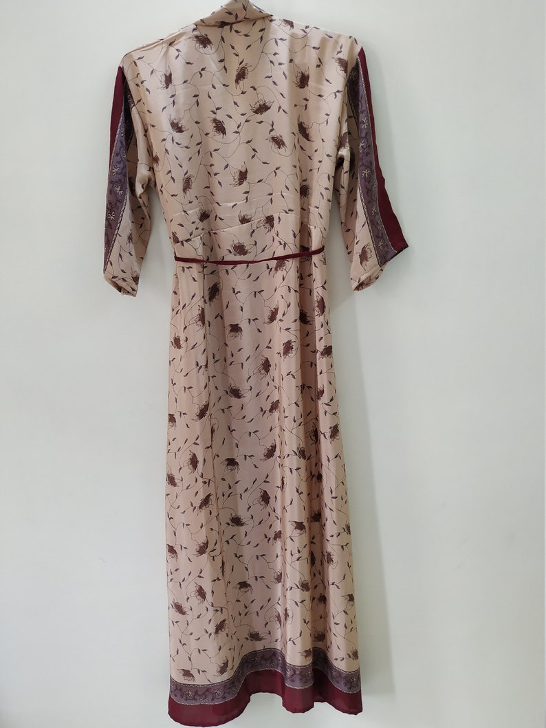 Kimono Gown Dressing Gown Robe Upcycled Saree Robe Vintage Silk Blend House Coat Bridesmaid Kimono Bridesmaid GiftsKimono Jacket Dress
