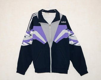 Jahrgang adidas Windbreaker Jacke Jugend Größe L 14 16