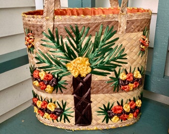 palm tree Cabas Couffin Bag Basket LONG ANSES markets races  leisure