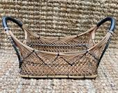 Vintage wicker basket.wicker cane basket. Hand woven basket. Gift basket. Fruit basket. Boho wicker basket. Rattan basket. Storage basket.