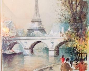 Mid century framed lithograph by Parisian artist, Caude Ducollet circa 1950s. French watercolor, Eiffel Tower. La Tour Eiffel Parisian scene