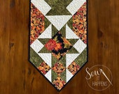 Thanksgiving table runner, Fall, Autumn, Orange, Yellow, Green, Red, Gold