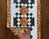 Thanksgiving table runner, Fall, Autumn, orange, red, yellow, gold, white, black