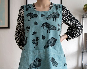Custom Apron, hand dyed and block printed apron