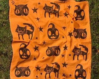 Halloween Tea Towel. Block print kitchen towel in pumpkin orange