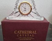 vintage Cathedral Crystal battery-operated mantle clock. boxed. 10.5 x 6.5 x 2.6 cms.