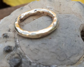 A sterling silver  chunky hammered ring going as big as W or us 11
