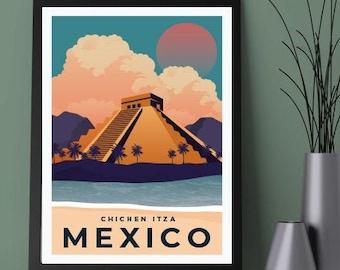 TIN SIGN MEXICO CHICHENITZA RETRO METAL PLAQUE VINTAGE,SHABBY CHIC TRAVEL ART