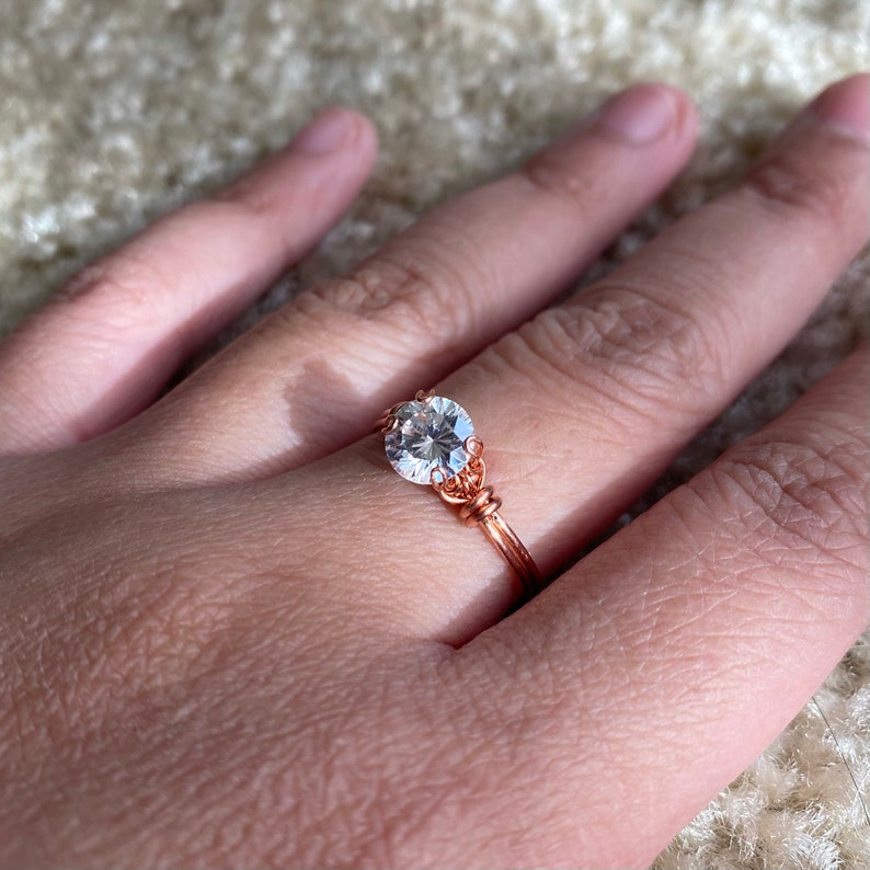 wire wrapped simulated diamond ring