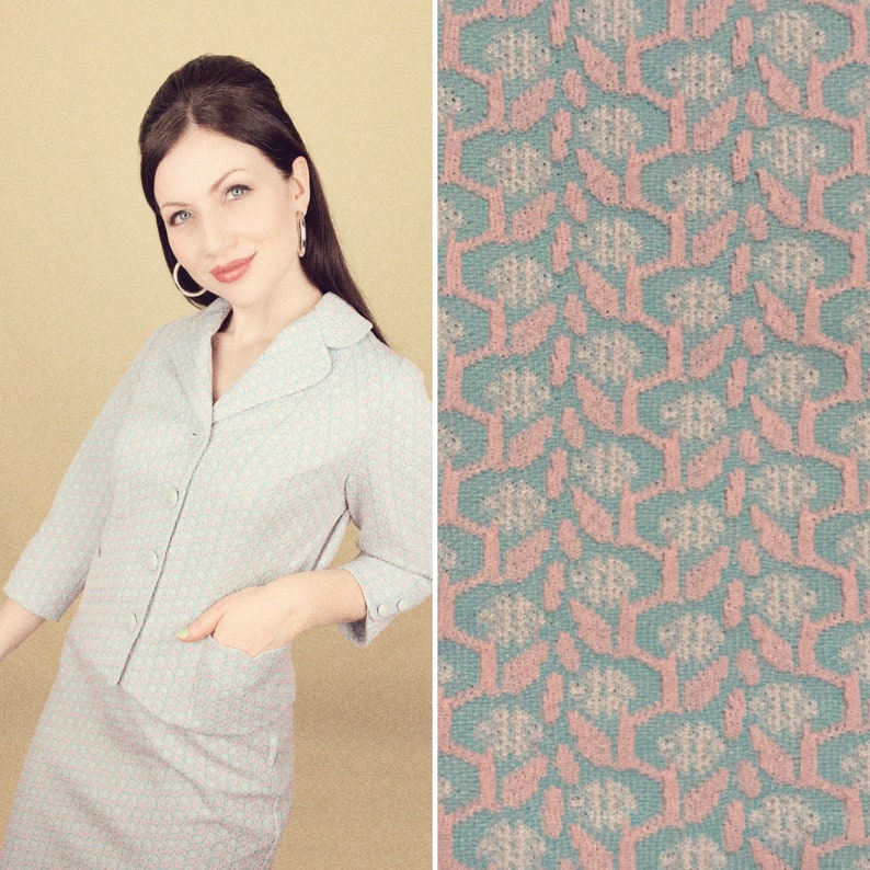 1960s Handmade Two Piece Skirt Suit Jacket Baby Pink Baby Blue Textured Crimplene