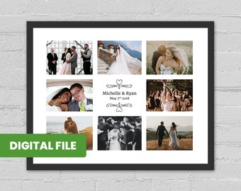 Wedding Welcome Sign Photo Collage Personalized Photo for Anniversary Gift Wedding Decoration Poster Board Custom Photo Collage Canvas