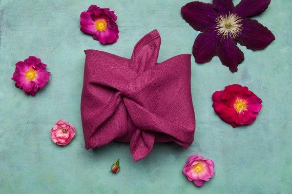 Bento cloth Bojagi cloth Gift wrapping cloth Coral pink color Christmas gifts 100/% Linen furoshiki cloth Zero waste living