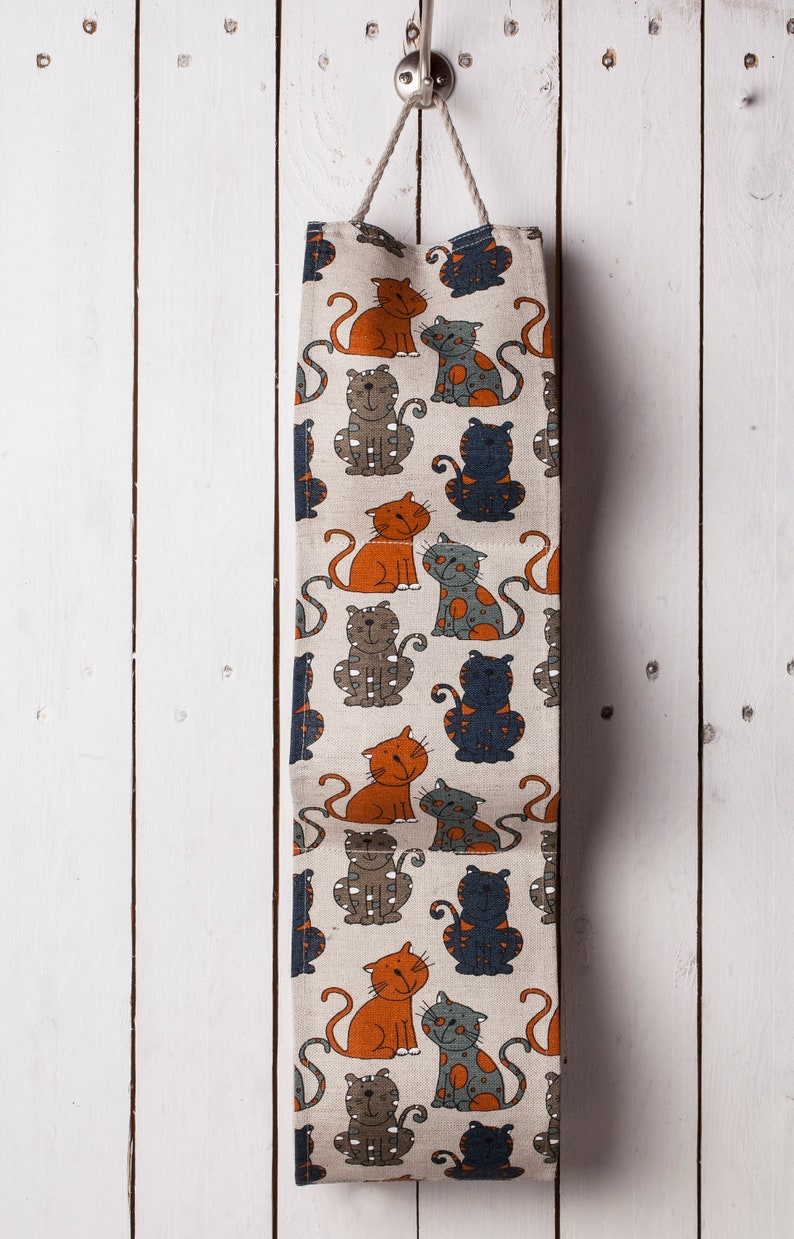 Gift for Christmas Toilet paper holder Storage toilet paper holder Bathroom decor Small bath organizer Brown cats design