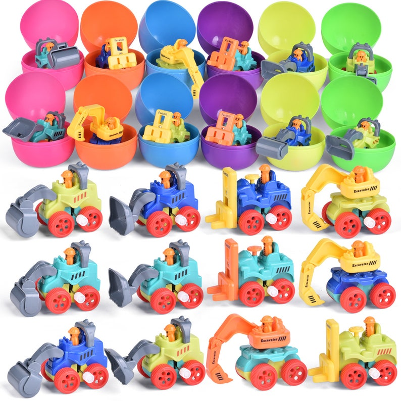 wind up construction vehicle toy filled Easter eggs 12pcs F-492