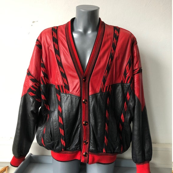 Leather Jacket Vintage Buttons Red Black L / XL Re
