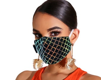 2 Pack LACE SEQUIN MASK - Sequin Face Mask - Cotton Face Covering - Women Sequin Mask - Sequin Glitter Mask - Nose Covering Mask