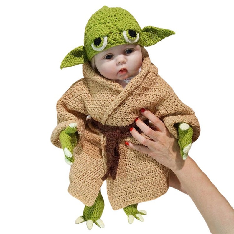 Crochet Yod Alien Costume Halloween Baby Photography Prop image 0
