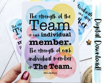 Teamwork Postcards, Printable Team Quotes, Positive Quotes, Staff Gifts, Colleague Postcards, Gift for Boss, Co-Worker Gift, Downloadable