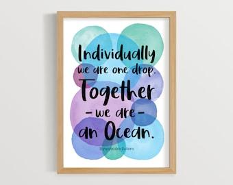 Teamwork Quote, Staff Room Art, Teamwork Print, Office Print, Inspiring Quotes, Working Together, Team Spirit Print, Leadership, UNFRAMED