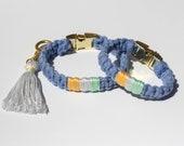 Matching Friendship Bracelet and Dog Collar Set Blue,Puppy Dog Collar,Small breed dog collar,Blue dog collar,Dog jewelry,Dog accessory
