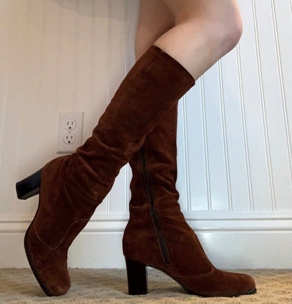 1960s 1970s brown suede leather knee high go go bo