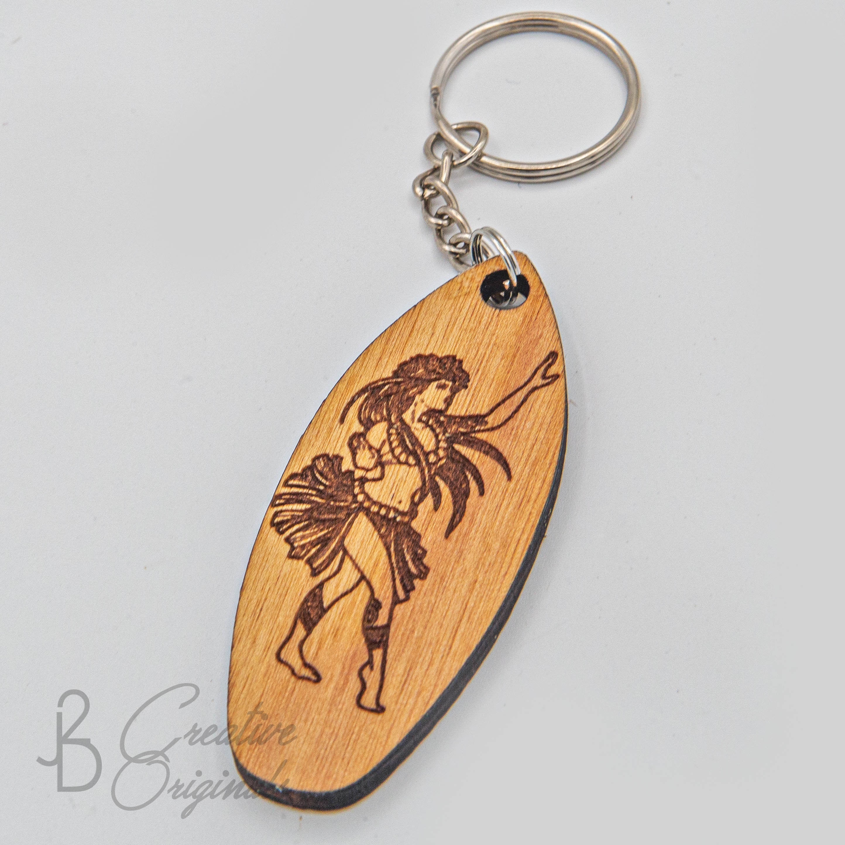 Made in Hawaii Stocking Stuffer Custom Designs Engraved Wood Surf Engraved Keychain Hawaii Keychains Wave Wood Keychains