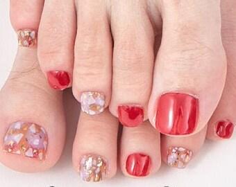 Stone Red - 22pc Toenail Wraps - Nails Like Royals