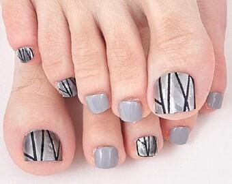 Gray Area - 22pc Toenail Wraps - Nails Like Royals