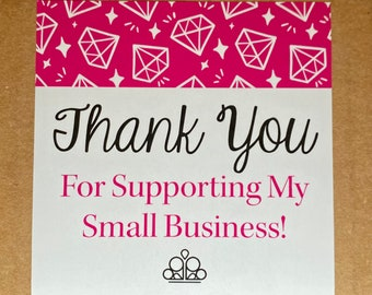 """25pk - Thank You Pink Diamond Stickers - 3.5""""x3.5"""" - Bundle for Packages - Jewelry Business"""