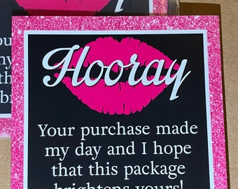 """25pk - Hooray Pink Glitter Lips Stickers - 3.5""""x3.5"""" - Bundle for Packages - Small Business"""